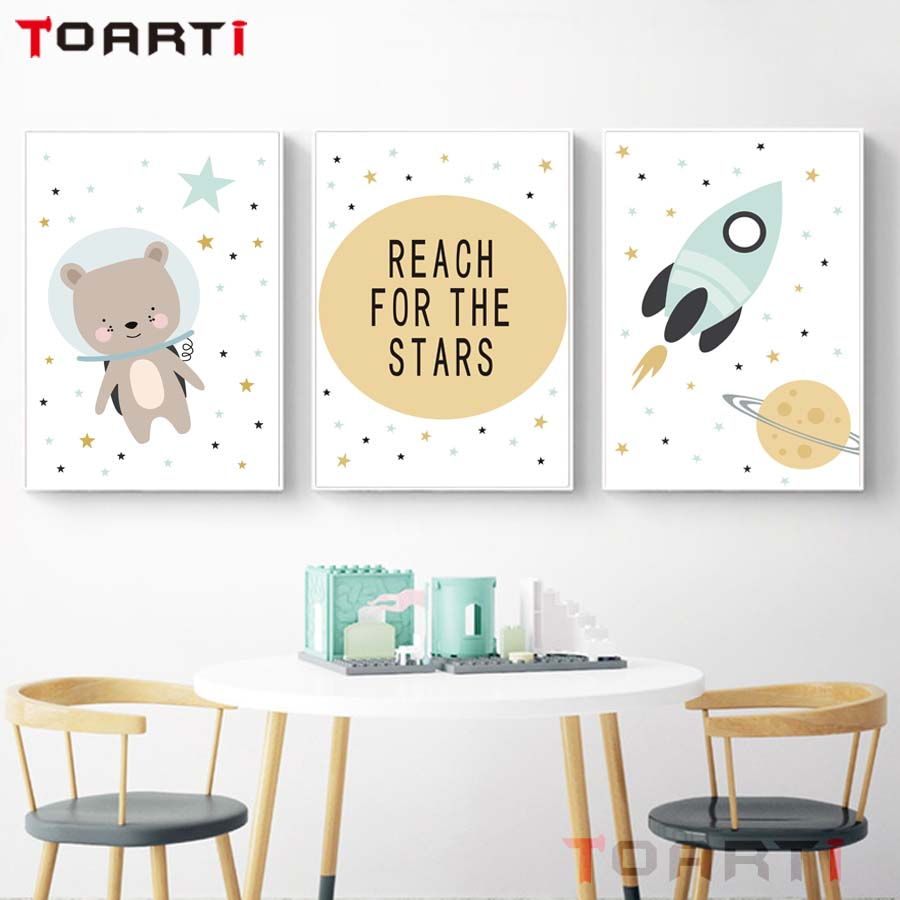 Reach For The Stars Poster&Prints Cartoon Wall Art Canvas Nursery Painting For Child Room Home Decor Wall Picture For Kids Room