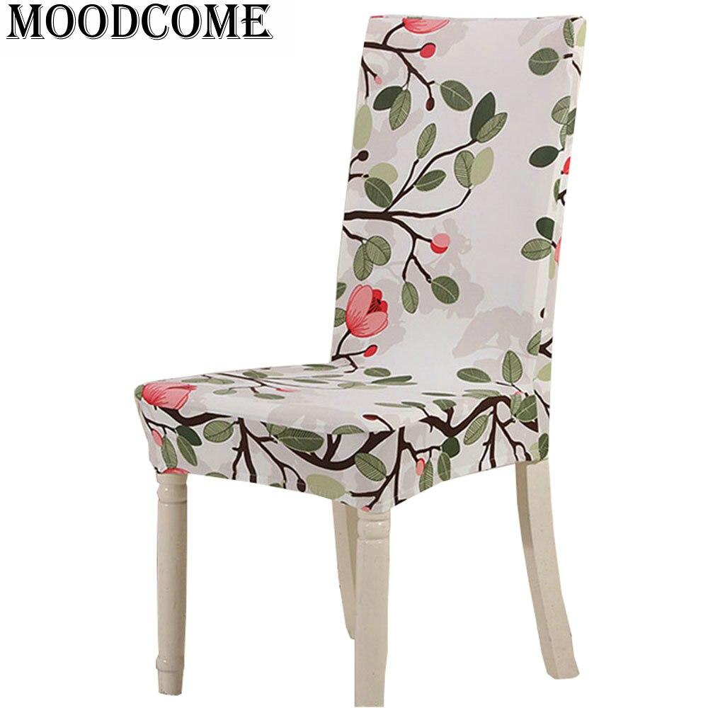 Tree flower printed chair cover stoel hoes eetkamer for Eetkamer stoel