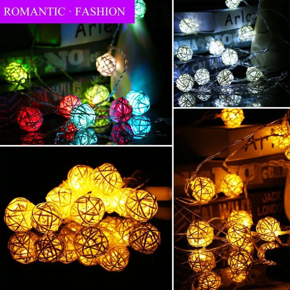 Takraw Rattan Balls Light 2.5m Led Light String Energy-saving Lights Outdoor Christmas Decoration Lights For Wedding Party Home & Garden