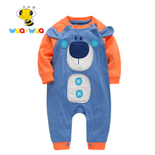 Baby Rompers boy girl Clothing baby Newborn Cotton Cloth jumpsuit full Sleeve o-neck Bear print Blue Orange Wua wua AT17133(China)