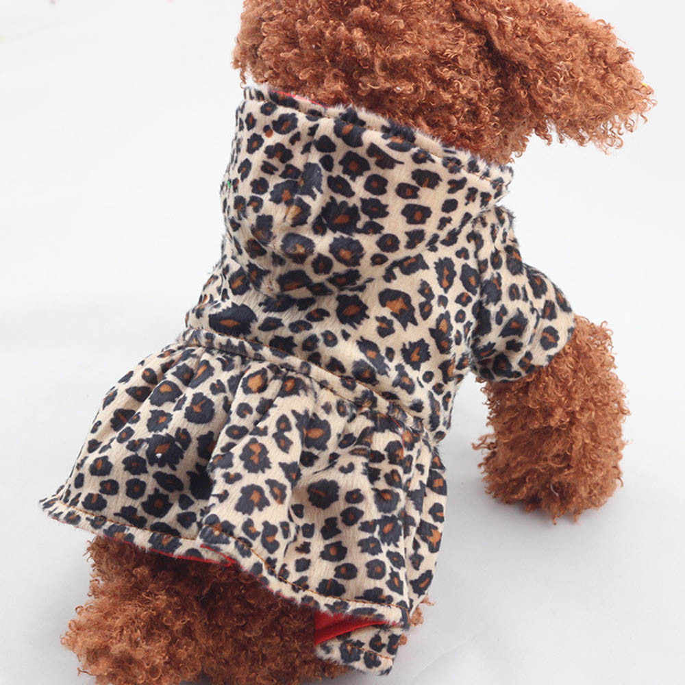 Pet Dogs Leopard Dress Tops Puppy Cotton Hoodie Woolen Round neck lovely winter pet dress Wear on both sides Leopard Clothes