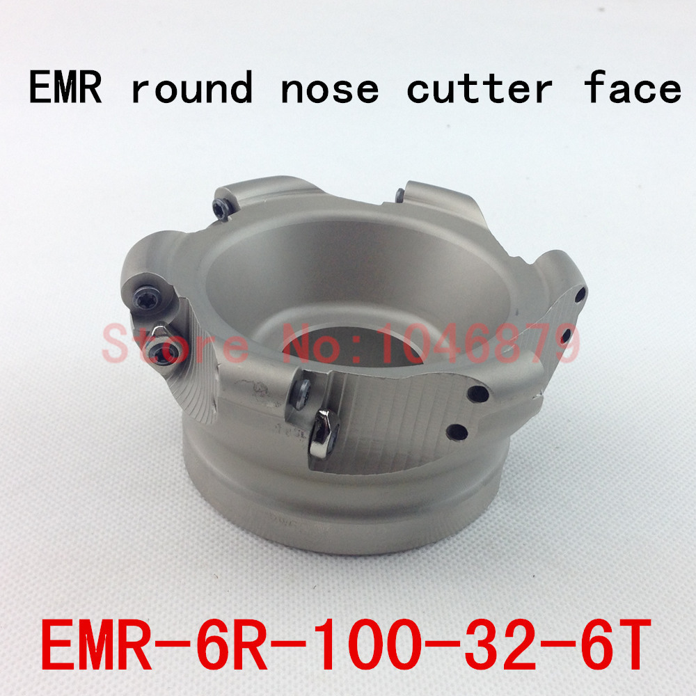 EMR round nose surface nc milling cutter, cnc milling cutter.EMR-6R-100-32-6T cnc router router bit trs 5r50 22 4t round nose surface nc cutter cnc milling cutter face cutter head use insert is rdmt10t3