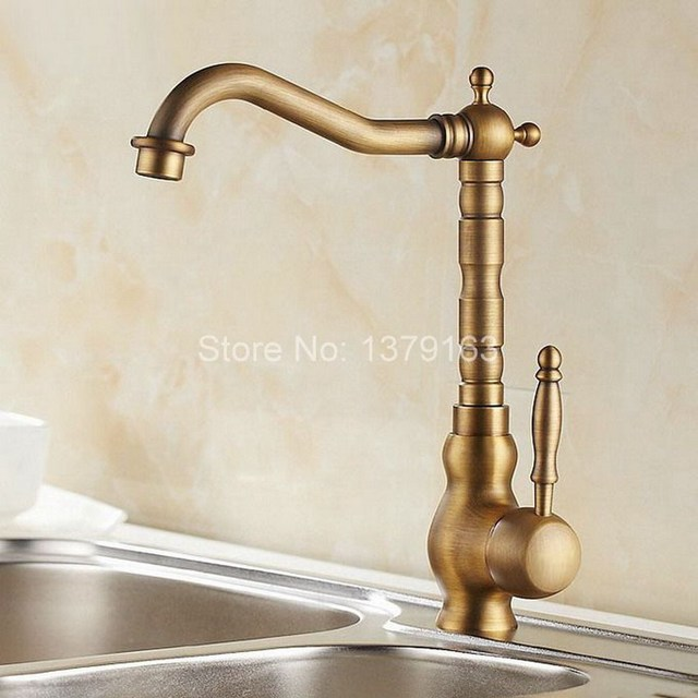 Antique Brass Single Lever Handle Swivel Kitchen Bathroom Sink ...