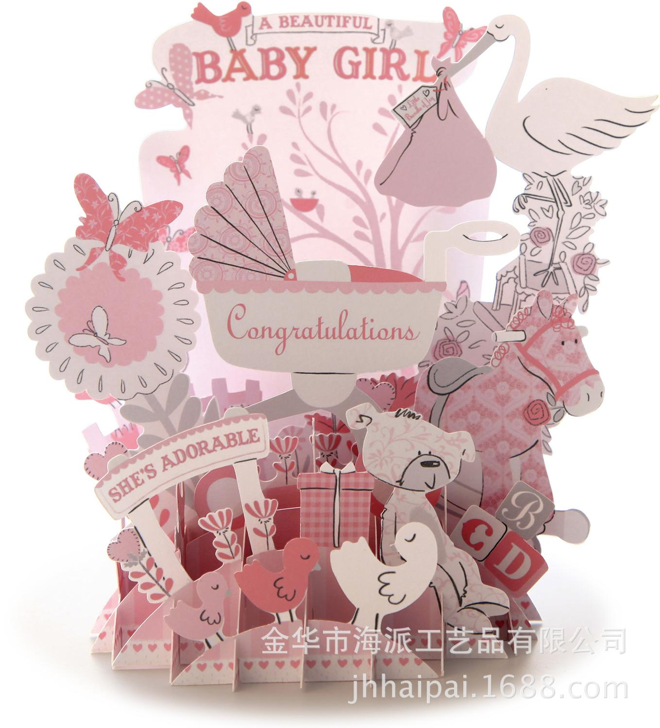 Factory Direct Birth Of A Beautiful Girl Birthday Greeting Card