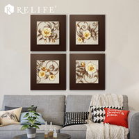 Wholesale Modern Rose Carved Wall Pictures Decoration for Living Room 3D Artwork Painting