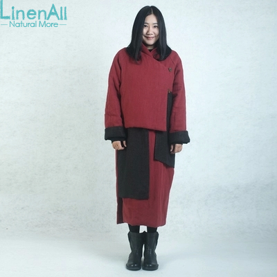 LinenAll women's red long parkas, vintage 100% linen handmade long winter cotton-wadded coat & jacket outerwear BMF