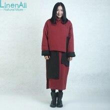 LinenAll женские красные длинные парки, винтаж 100% лен ручной долгая зима хлопка-ватные пальто и куртки верхняя одежда BMF