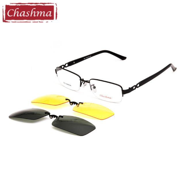 7777db44e7 Chashma Men Fishing Driving 2 Clips Polarized Sunglasses Alloy Optical  Mopia Glasses Frame with Magnet Lenses for Day and Night