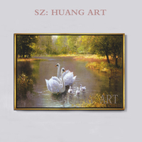 Hand painted Beautiful Landscape Forest Trees Oil Painting Impressionist Swans Swimming in Lake sunrise Animal Oil Painting