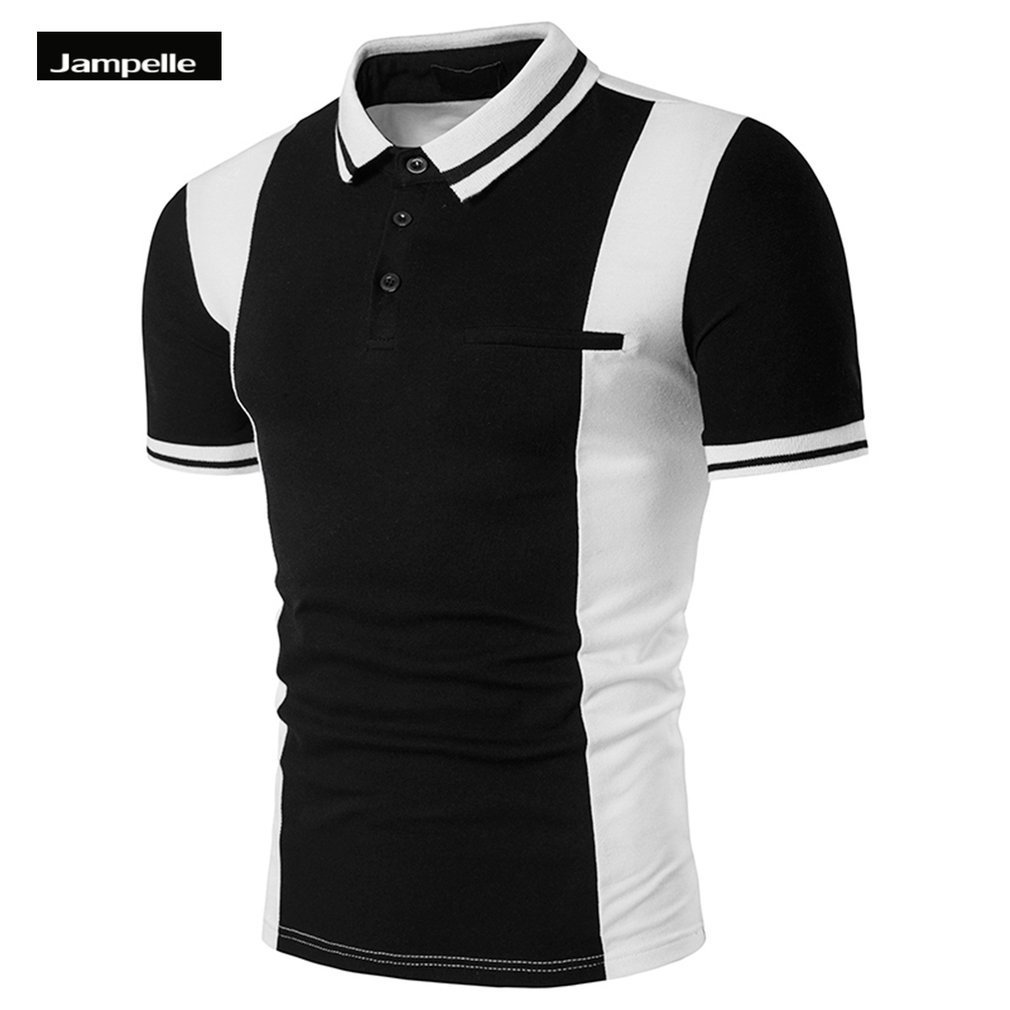 Black t shirt white collar - Jampelle Men S Polo Shirts Fashion Lapel Collar Design Short Sleeved Vertical Strip Printed Pattern Shirt Black