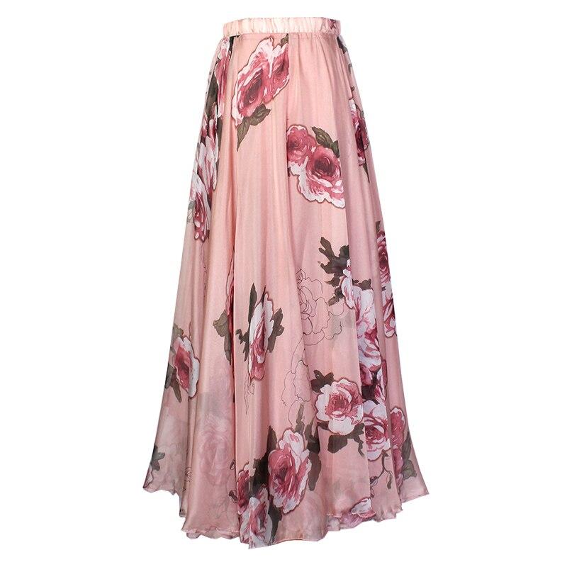 Imprimer fleur 2019 nouveau Empire a-ligne jupe femmes élégant Slim haute qualité plage jupe grande taille M-XXXL été en mousseline de soie jupe