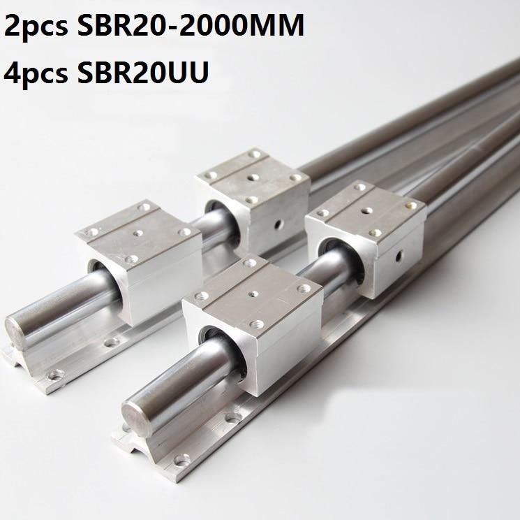 2pcs SBR20 20mm 2000mm Support Linear Guide Rail 4pcs SBR20UU Linear Bearing Sliding blocks CNC Router