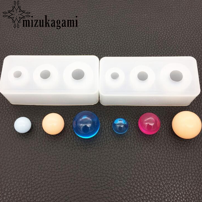 1pcs Silica Gel Mould Resin Decorative Craft DIY Different Sizes Round Ball Shape Type Epoxy Resin Molds For Jewelry