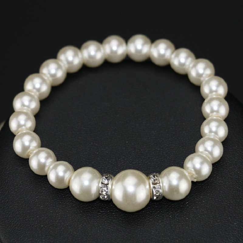 Newest threading pearls necklace   elastic  bracelet earrings in a three-piece suit bridal jewelry