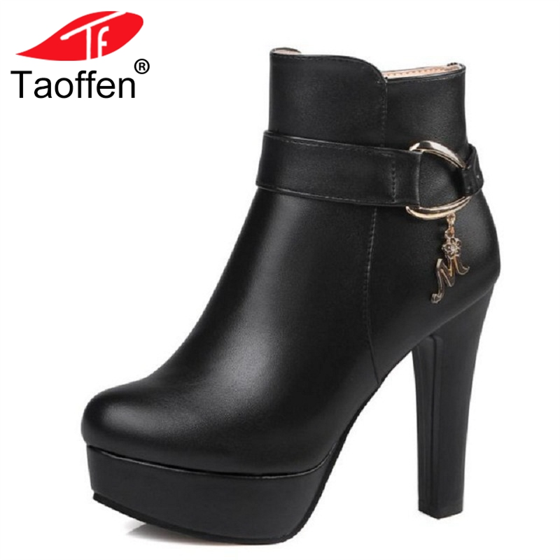 TAOFFEN Ladies Platform Ankle Boots Women High Heel Shoes Autumn Winter Warm Zip Botas Mujer Heeled Footwear Size 32-43 наручные часы casio bgs 100sc 7a