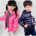 2016 novos meninos de inverno Para Baixo crianças jaqueta casaco roupas meninas crianças pequenas roupas puro Coreano Com Capuz casacos de zíper