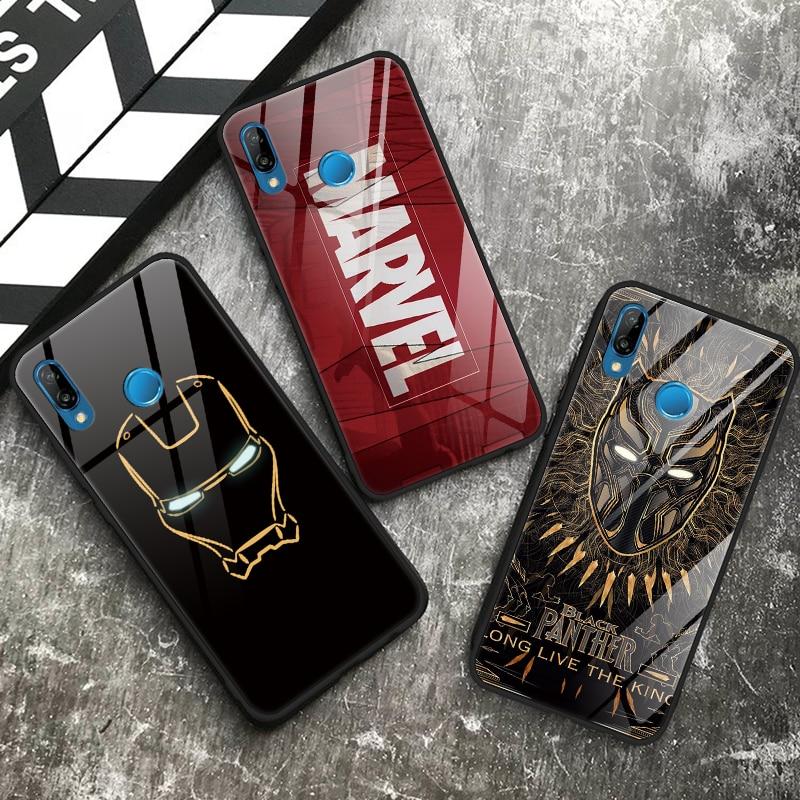 Black Panther iron Man Tempered Glass Soft Case For TPU Huawei P20 Mate 30 20 Lite Innrech Market.com