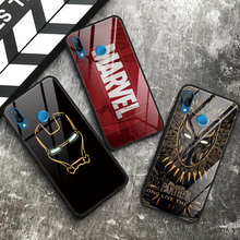 Black Panther Iron Man Kaca Tempered Soft Case untuk Tpu Huawei P20 Mate 30 20 Lite P30 Pro Honor Play 8X9 10 Nova 3 3i 3E Case(China)