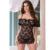 Alta calidad atractiva llena Slip Strapless tentación lencería Sexy tanga de encaje transparente pieza hombro ajustable equipado