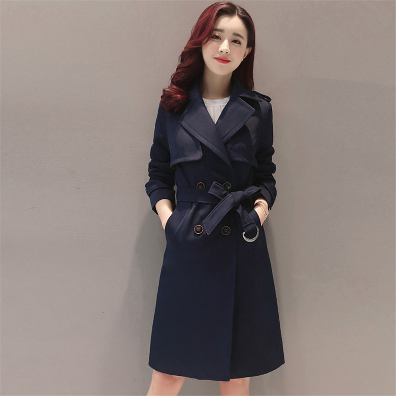 c6ce0a34a11 Модный длинный плащ пальто Для женщин 2018 Демисезонный пальто плюс Размеры  дамы тонкий двубортный ветровка женская