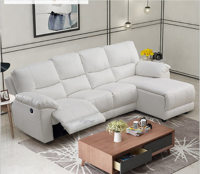 Whit Leather Living Room Sofa Set L Corner w/ Electric Recliners 5