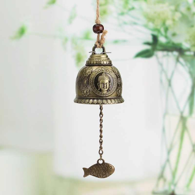 KiWarm Retro Buddha Statue Pattern Bell Blessing Feng Shui Wind Chime for Good Luck Fortune Home Car Crafts Hanging Decoration