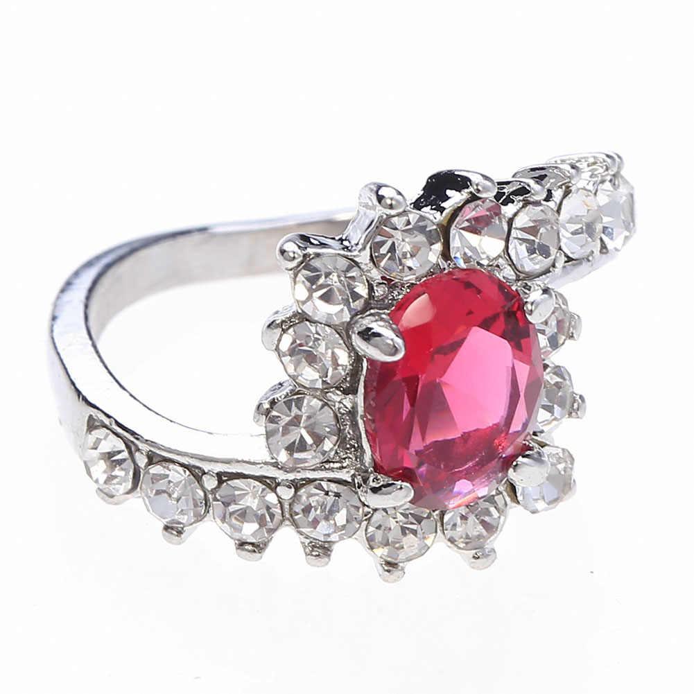 2019 nuevos anillos de circonita verde/azul/blanco/rosa/rojo para mujeres Color plata relleno piedra Multicolor anillo