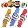 3 in 1 Folding Tableware Stainless Steel Spoon Fork Knife Multifunction Tool for Outdoor Camping Picnic
