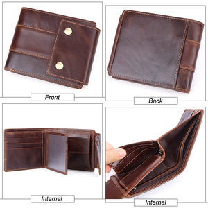 Image 3 - GENODERN Genuine Leather Men Wallets Vintage Hasp Design Women Money Bag Zipper Pocket Card Holder Male Portomonee Coin Purse