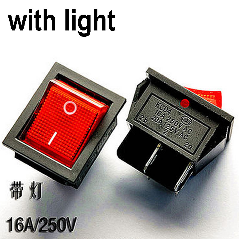 H012-02 2pcs Boat Rocker Switch 16A/250V 20A/125V SPST 4 PIN 25*31mm ON/OFF with RED LED Light Free Shipping yellow led on off rocker switch w terminal protector set for electric appliances 2 pcs