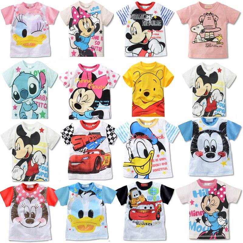 Summer Girls Boy TShirt Mickey Minnie Mouse Donald Duck Lilo Stitch Short Sleeve T-shirt Print Children's Cartoon Kids Clothes