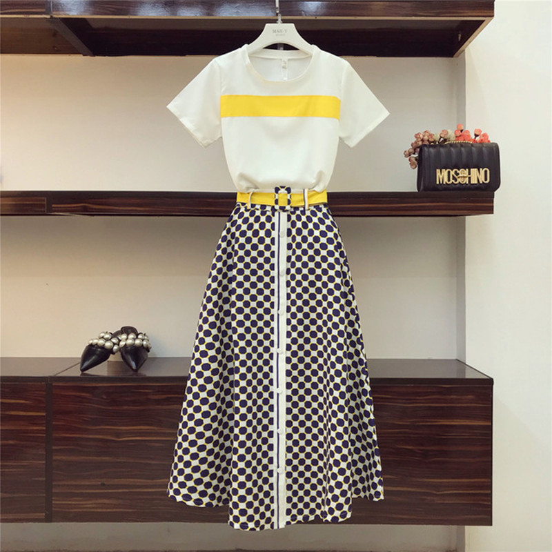 2019 New Summer Fashion Women's Sets Color Block O-Neck Short Sleeve Tshirts + Geometric Patterns Ultra Long Skirt Female Suits