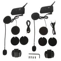 Mtsooning Bluetooth Helmet Intercom Headset 2 Sets V6 1200M Motorcycle Wireless BT Interphone Upto 6 Riders