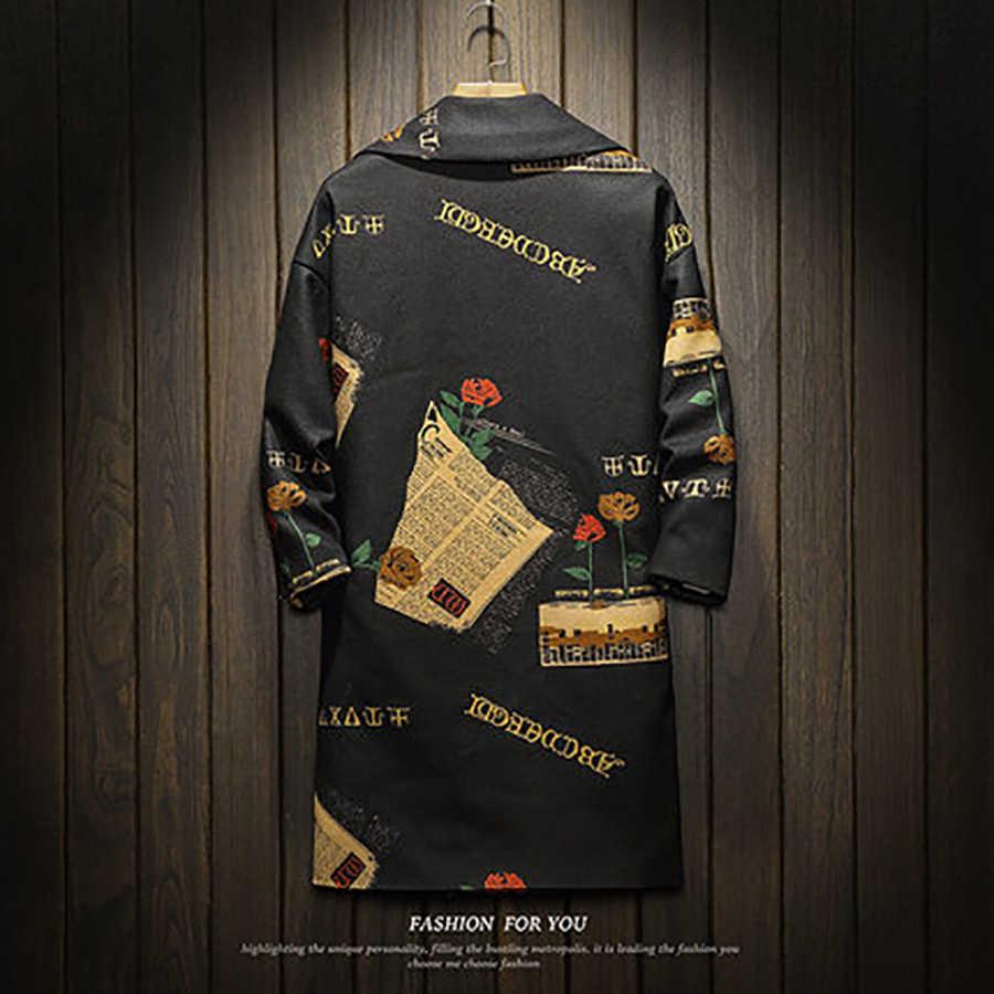 שחור גותי ארוך תעלת מעיל גברים חורף Mens מעיל סתיו מלא בציר גלימת Harujuku Steampunk מעיל מעיל רוח מעיל גברים