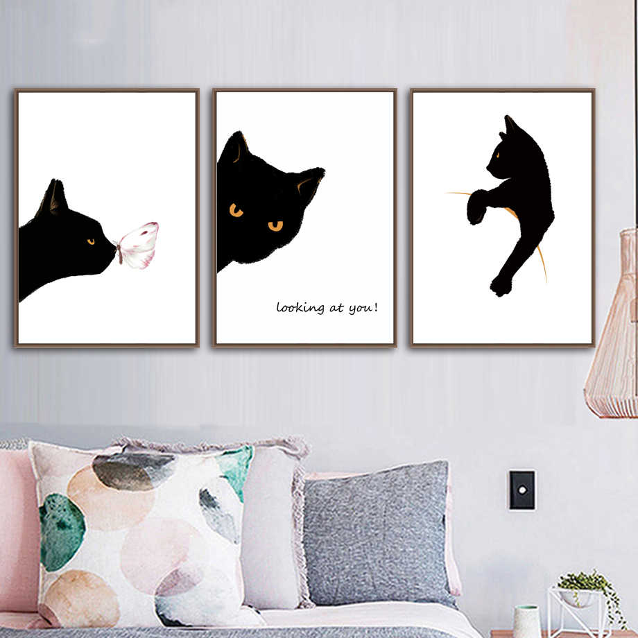 Prints Modular Poster Minimalism Cat Butterfly Black White Animals Home Decor Canvas Painting Nursery Nordic Pictures Wall Art