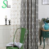 Slow Soul Modern Cotton Curtain French Window Gray Light Blue Beige Floral Curtains For Living Room