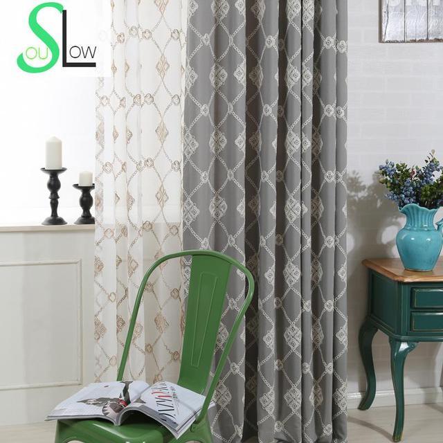 Langsam Seele Moderne Baumwolle Vorhang Franzosisch Fenster Grau