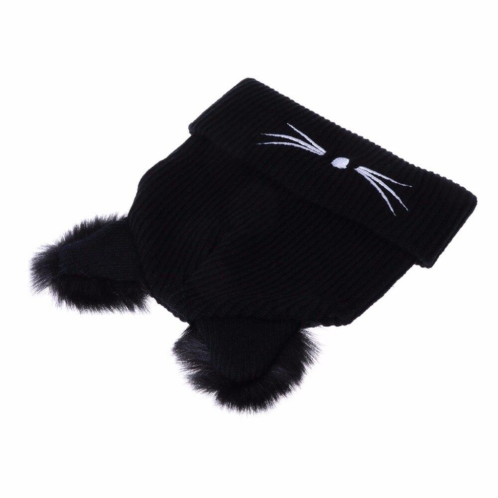 Cat Ears Women Hat Knitted Acrylic Warm Winter Beanie 3