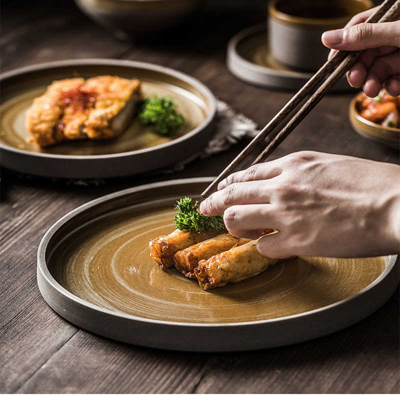 Coarse Ceramic Plate Round Steak Tray Retro Dinnerware Set Rice Bowl Flat Plate Japanese Tableware Coffee Cup Sushi Dishes 1pcs