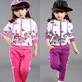 Marca Crianças conjunto de Roupas Crianças outerwear terno esporte meninas Idade 4-12 Floral jaqueta com capuz + Calça de jogging moda moletom