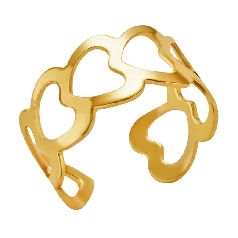 Rinhoo Mới Đơn Giản Thời Trang Vàng Bạc Knuckle Nhẫn Có Thể Điều Chỉnh Mở Nhẫn Trang Sức Tặng Cho Nữ Nữ Tinh Tế Trang Sức