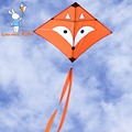 2.5ft Fox Kite Línea Única de Kite Para Niños Con Hilo de la Cometa Flying Herramientas Colas Dobles Regalo de Los Cabritos Al Aire Libre Parque de la Playa Jugando Diversión