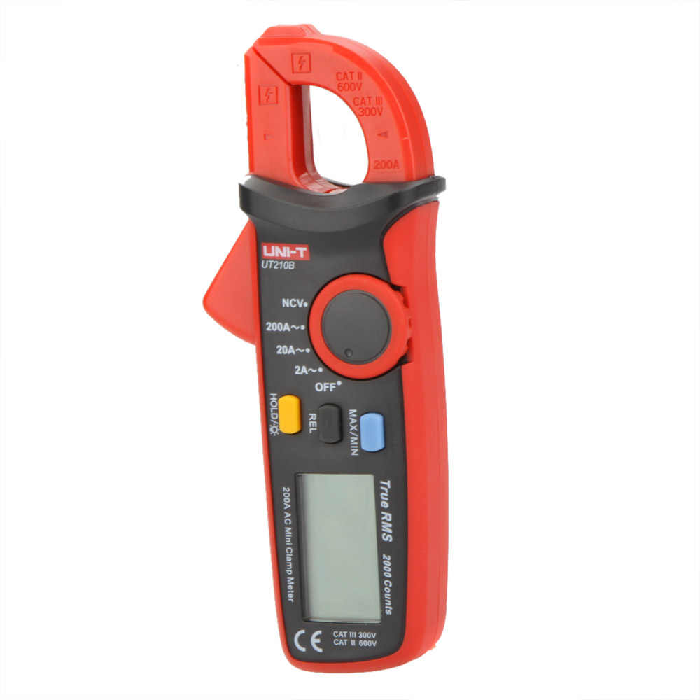 UT210B Current Pliers Amperometric Clamp Meter True RMS AC LCD Mini Digital Ammeter Clamp Meters NCV Tester 2A/20A/200A