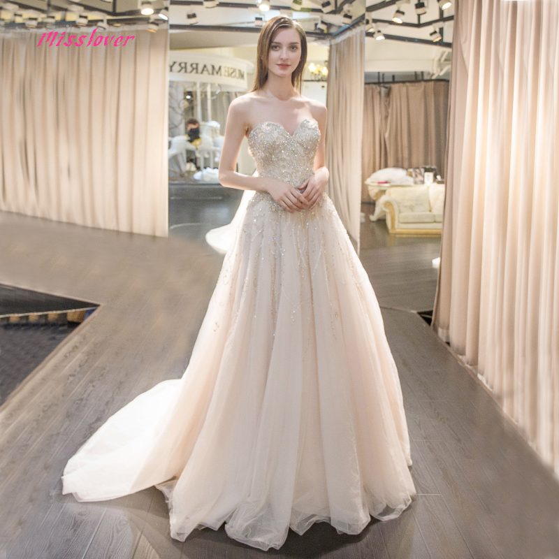 Silky Organza Bridal Gown 2019 new Sexy Strapless Bride Wedding Dress Luxury Crystal and Pearls Vestido