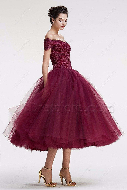 Off the Shoulder Tea Length Prom Dresses