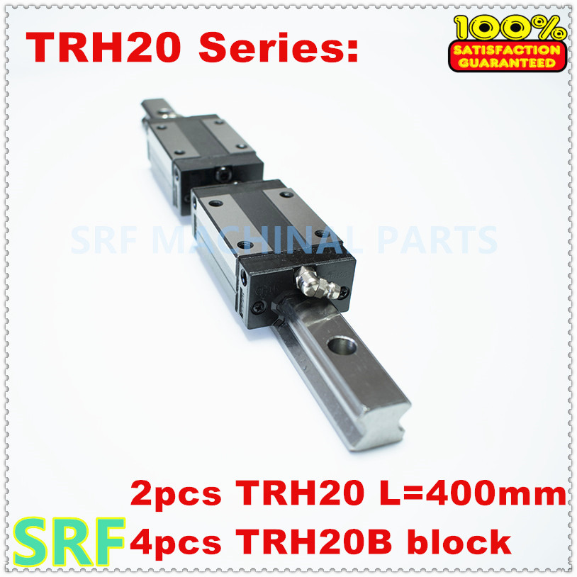 High quality 2pcs 20mm width Linear Guide Rail  TRH20  L=400mm  with 4pcs TRH20B Pillow block for cnc tbi 2pcs trh20 1000mm linear guide rail 4pcs trh20fe linear block for cnc