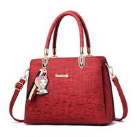Fashion Women PU leather Single Strap handbag Embroidery Crossbody shoulder bags Big Capacity