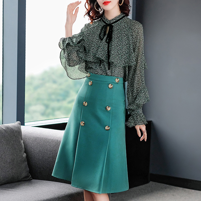 New 2019 spring summer office double breasted skirt suit bow stand collar ruffles print chiffon tops blouse two piece set green