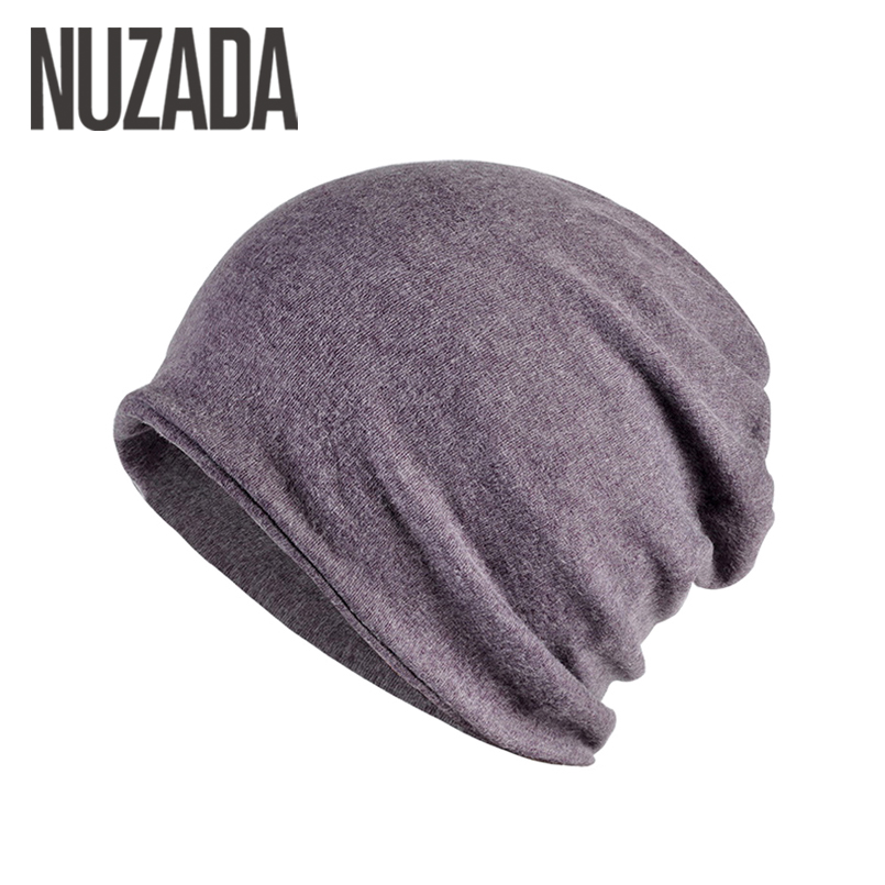 Brand NUZADA Knitted Caps Hat Autumn Winter Keep Warm Men Women Hedging Cap   Skullies     Beanies   Bonnet Cotton Double Layer
