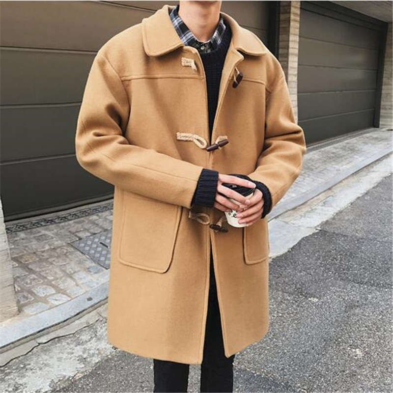 Slim Men Overcoat Wool Blend Collar Black Korean Duffle Man Coat Buttons Harajuku Casacos Masculino Mens Long Overcoats
